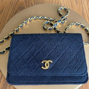 Authentic Chanel black quilted jersey chain bag